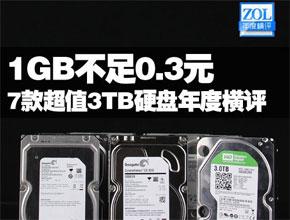 1GB不足0.3元 7款超值3TB硬盘年度横评