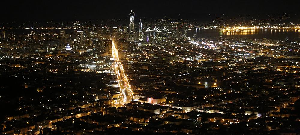 双子峰俯瞰旧金山夜景