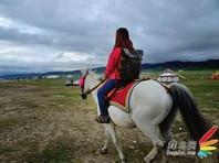 背着包骑着白马