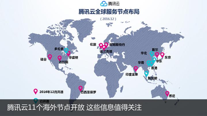 腾讯云11个海外节点开放 这些信息值得关注
